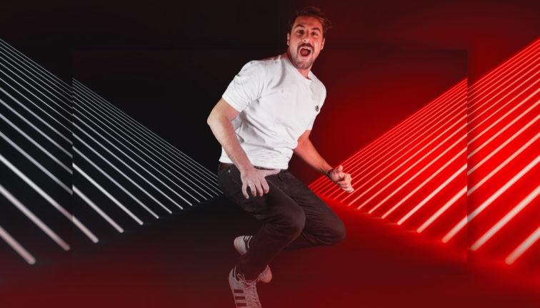 Futuristic Neon Lights Stage Floor Background